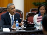 President Barack Obama, joined by National Security Adviser Susan Rice, right, speaks as he meets with Vietnamese Prime Minister Nguyen Xuan Phuc in the Presidential Palace Compound in Hanoi, Vietnam, Monday, May 23, 2016.