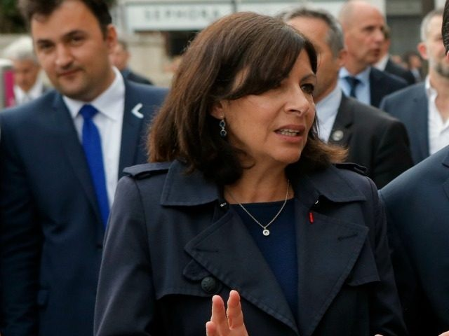 Mayor Anne Hidalgo, outside Paris City Hall, in Paris, Monday, May 9, 2016.
