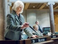 Sen. Mae Beavers, R-Mt. Juliet, concludes remarks on the Senate floor in Nashville, Tenn., on Wednesday, Feb. 5, 2014.