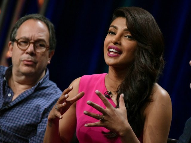 "Executive producer Mark Gordon, from left, actress Priyanka Chopra, and writer/executive producer Joshua Safran appear during the ""Quantico"" panel at the Disney/ABC Summer TCA Tour at the Beverly Hilton Hotel on Tuesday, Aug. 4, 2015 in Beverly Hills, Calif. (Photo by )"