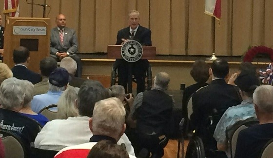 Texas Governor Greg Abbott speaks at Memorial Day Ceremony in Georgetown, Texas.