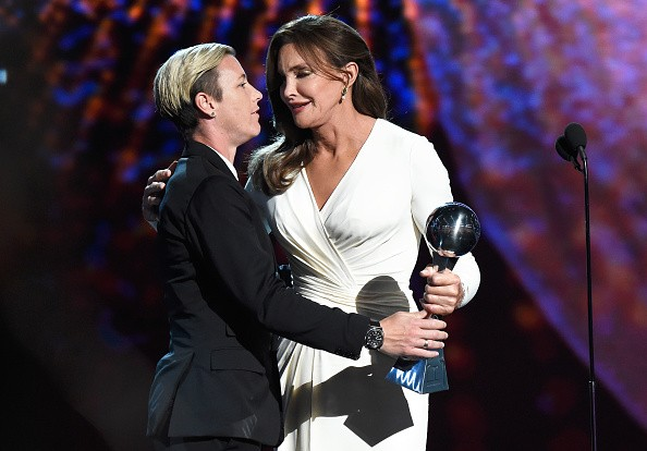 LOS ANGELES, CA - JULY 15: (L-R) USWNT soccer player Abby Wambach presents Caitlyn Jenner the Arthur Ashe Courage Award onstage during The 2015 ESPYS at Microsoft Theater on July 15, 2015 in Los Angeles, California. (Photo by Kevin Mazur/WireImage)
