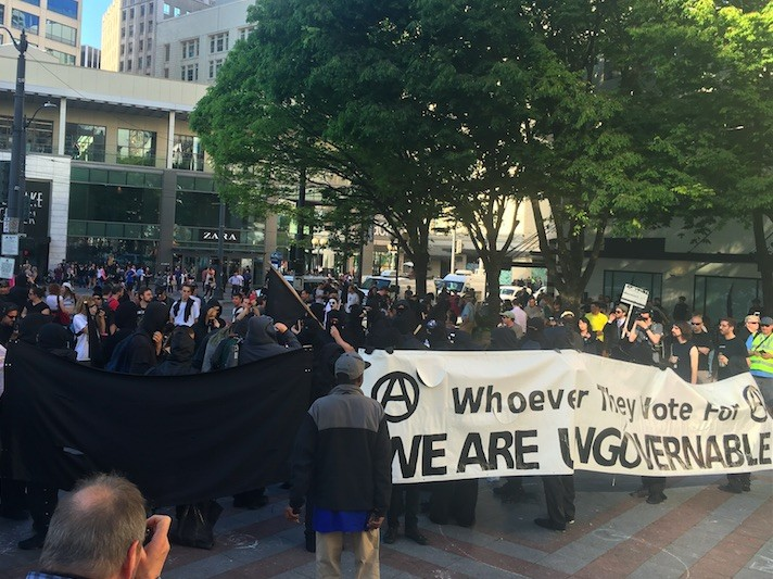 Anarchist banner at Seattle May Day (Lee Stranahan / Breitbart News)