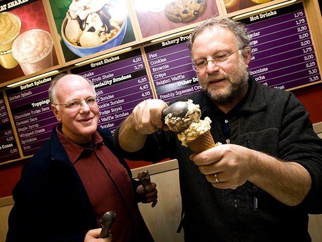 American ice cream makers Ben Cohen (L) en Jerry Greenfield, founders of the brand, Ben & Jerry's give out ice creams for free in their shop in the centre of Amsterdam, The Netherlands on Monday February 22, 2010. AFP PHOTO/ANP/ADE JOHNSON ***netherlands out - belgium out*** (Photo credit should read …