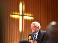 Bernie Sanders cross church (Josh Edelson / AFP / Getty)