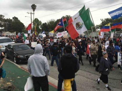 Bernie Sanders protest at Hillary Clinton rally (Daniel Nussbaum / Breitbart News)