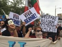 Bernie Sanders supporters outside Hillary Clinton (Daniel Nussbaum / Breitabrt News)