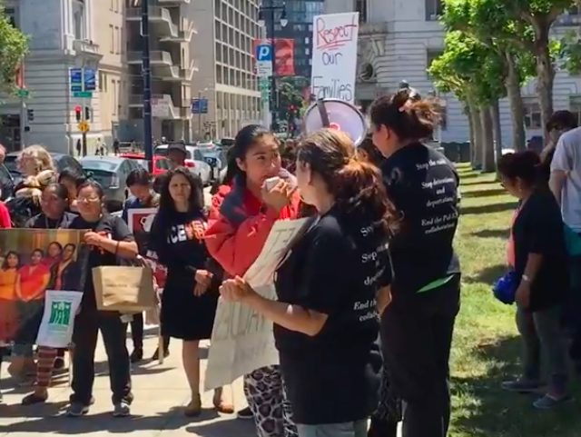Causa Justa rally outside Supervisors (Lee Stranahan / Breitbart News / Screenshot / YouTube)