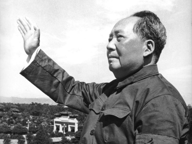 "CHINA : Chinese leader Mao Zedong reviewing for the first time the army forces of the ""Great Proletarian Cultural Revolution"" on the Tienanmen Gate rostrum on 18 August 1966."