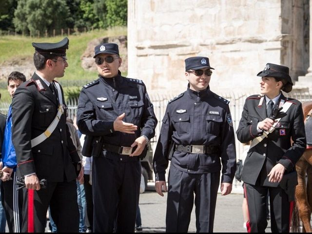 China police flank their Italian counterparts in cooperative law enforcement project.