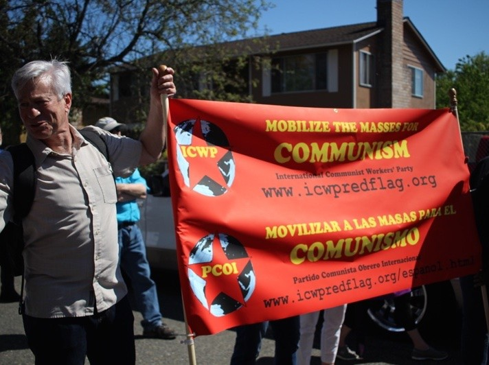 Communist banner at Seattle May Day rally (Lee Stranahan / Breitbart News)