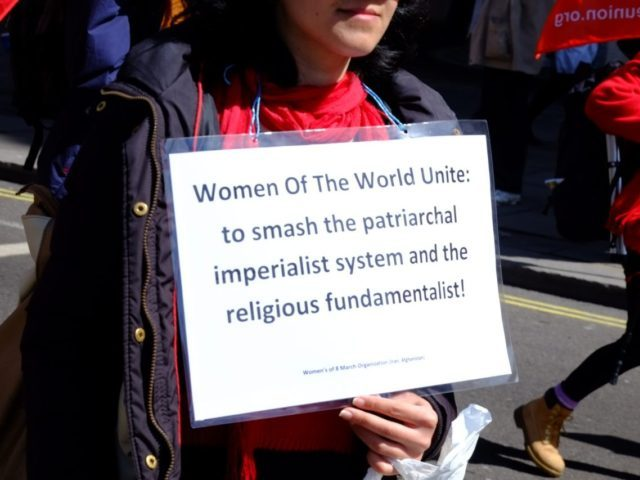 Feminist marcher at London's May Day Parade.