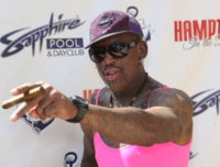 LAS VEGAS, NV - JUNE 15: Former NBA player Dennis Rodman arrives at the Sapphire Pool & Day Club on June 15, 2014 in Las Vegas, Nevada. (Photo by Gabe Ginsberg/FilmMagic)