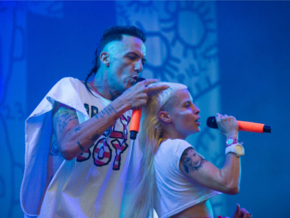 South African band Die Antwoord performs on stage during the 27th Eurockeennes music festival on July 5, 2015 in Belfort.
