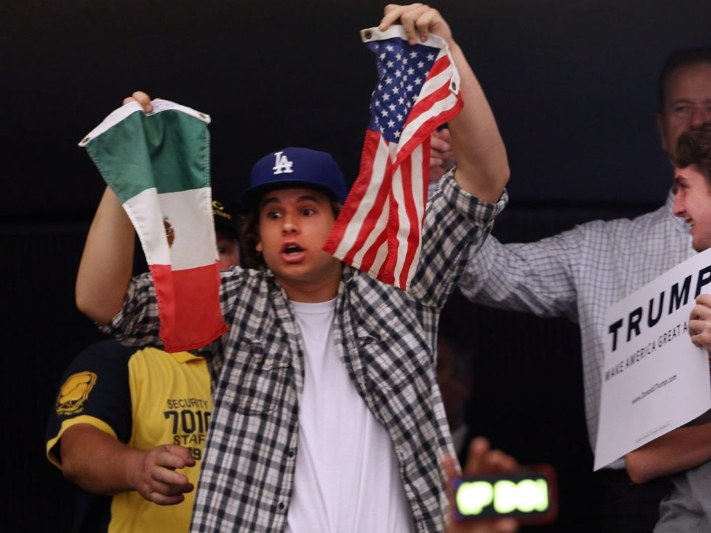 Donald Trump protester in Anaheim (Spencer Platt / Getty)