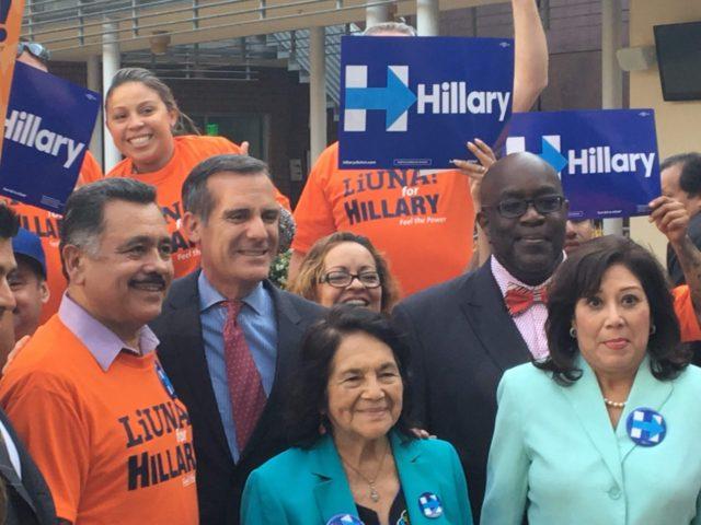 Eric Garcetti at Hillary HQ (Daniel Nussbaum / Breitbart News)