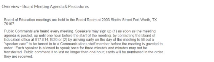 FWISD Board Meeting Procedures on 051816