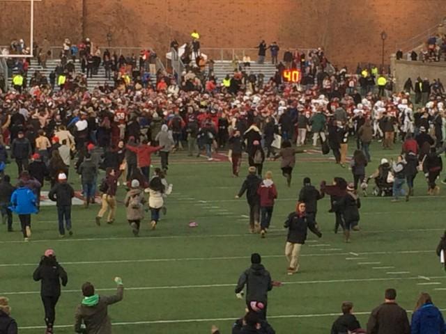 Fans Storming Harvard Stadium Field