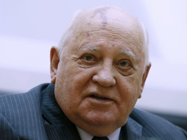 "Former Soviet leader Mikhail Gorbachev speaks at the launch ceremony for a book about him entitled ""Gorbachev in Life"", in Moscow, Russia, on Monday, Feb. 29, 2016. Mikhail Gorbachev turns 85 on Wednesday, March 3, 2016. (AP Photo/Ivan Sekretarev)"