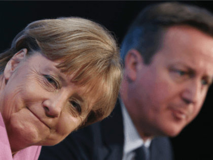 LONDON, ENGLAND - FEBRUARY 04: German Chancellor Angela Merkel and British Prime Minister David Cameron attend the 'Supporting Syria Conference' at The Queen Elizabeth II Conference Centre on February 4, 2016 in London, England.
