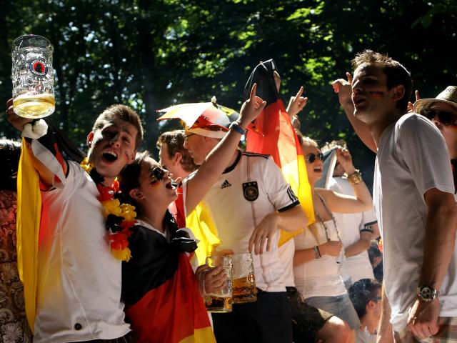German football beer shower