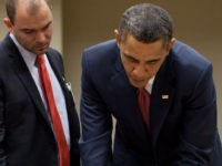 President Barack Obama works on his statement concerning the situation in Libya with, from left, Chief of Staff Bill Daley, National Security Advisor Tom Donilon, and Deputy National Security Advisor for Strategic Communication Ben Rhodes, in Brasilia, Brazil, March 19, 2011. (Official White House Photo by Pete Souza) This official …