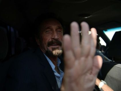 US anti-virus software pioneer John McAfee gestures as he arrives at the Aurora international airport in Guatemala City on December 12, 2012. McAfee escaped immediate deportation to Belize on Wednesday as Guatemala decided to expel the American back to the United States instead. McAfee, who entered Guatemala illegally after more …