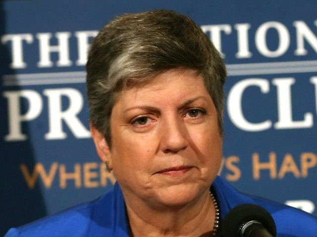 Homeland Security Secretary Janet Napolitano delivers her farewell speech at the National Press Club August 27, 2013 in Washington, DC.