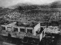 Wreckage of buildings in Hiroshima after the dropping of the atomic bomb (August 1945). (Photo by