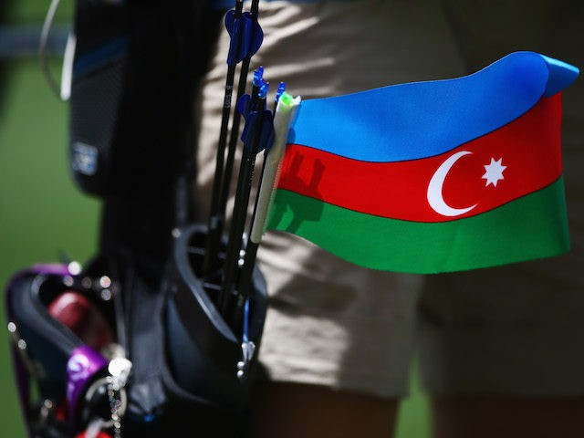 BAKU, AZERBAIJAN - JUNE 16: An Azerbaijan flag is seen on the belt of Olqa Senyuk of Azerbaijan during the Women's Individual Ranking Round during day four of the Baku 2015 European Games at Tofiq Bahramov Stadium on June 16, 2015 in Baku, Azerbaijan. (Photo by Harry Engels/Getty Images for …