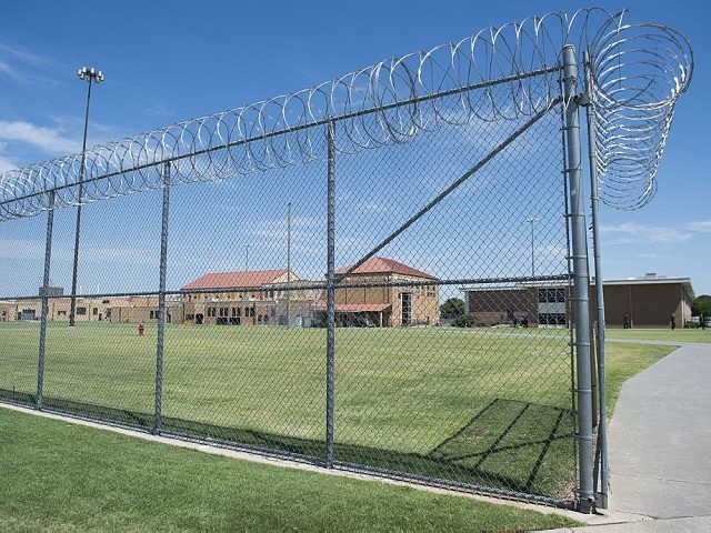 The prison yard at the El Reno Federal Correctional Institution in El Reno, Oklahoma, July 16, 2015, is seen during a visit by US President Barack Obama. Obama is the first sitting US President to visit a federal prison, in a push to reform one of the most expensive and …