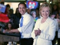 : Secretary of Housing and Urban Development Secretary Julian Castro introduces Democratic presidential candidate Hillary Clinton at a 'Latinos for Hillary' grassroots event October 15, 2015 in San Antonio, Texas.