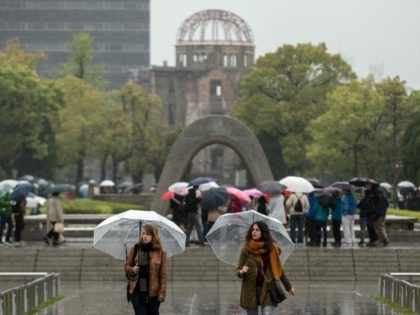 Tourists visit the Memorial Park, Atomic Bomb Dome and the nearby Hiroshima Peace Memorial Museum on April 21, 2016 in Hiroshima, Japan.