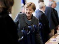 Chancellor Angela Merkel visits the GTAZ (Gemeinsames Terrorismusabwehrzentrum) anti-terror center on April 26, 2016 in Berlin, Germany.