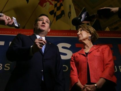 Republican presidential candidate Sen. Ted Cruz (R-TX) and his Vice Presidential candidate, former Hewlett-Packard chief executive Carly Fiorina, speak with the media before participating in a taping of Fox News Channel's The Sean Hannity Show at the Indiana War Memorial on April 29, 2016 in Indianapolis, Indiana.