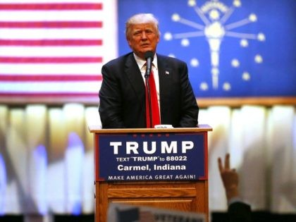 Republican presidential candidate Donald Trump speaks during a campaign stop at the Palladium at the Center for the Performing Arts on May 2, 2016 in Carmel, Indiana.