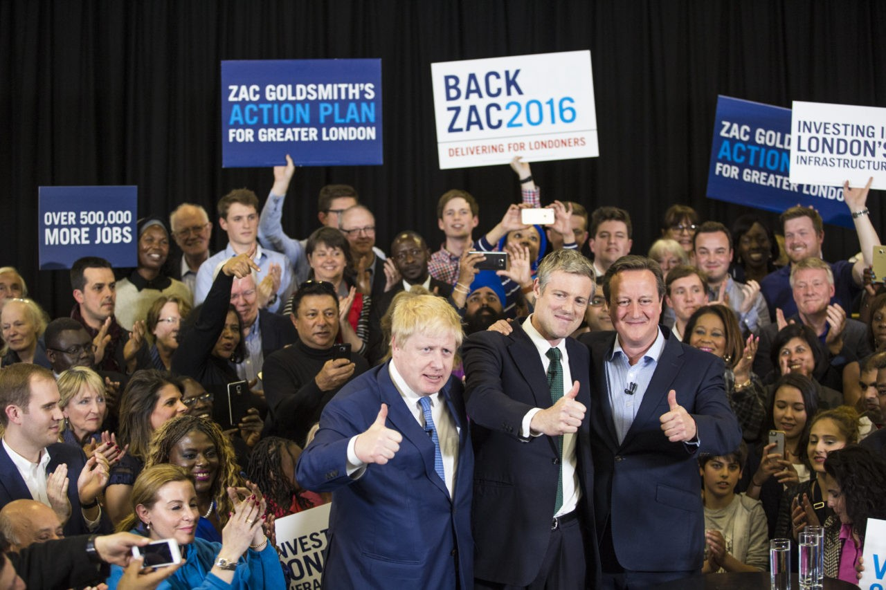 LONDON, ENGLAND - MAY 03: (L-R)  London Mayor Boris Johnson, Conservative candidate for Mayor of London, Zac Goldsmith and British Prime Minister David Cameron attend a mayoral campaign rally at Grey Court School in Richmond on May 3, 2016 in London, England. The Prime Minister joined the Conservative Mayoral candidate at Grey Court School on the penultimate day of campaigning. Former pupils of the school include London's Cycling Commissioner, Andrew Gilligan. Londoners go to the polls on Thursday 5th May with the declaration expected later on Friday 6th. The current Mayor of London is the Conservative MP for Henley, Boris Johnson. (Photo by Jack Taylor/Getty Images)