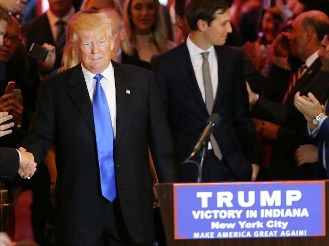 Republican presidential frontrunner Donald Trump speaks to supporters and the media at Trump Tower in Manhattan following his victory in the Indiana primary on May 03, 2016 in New York City.