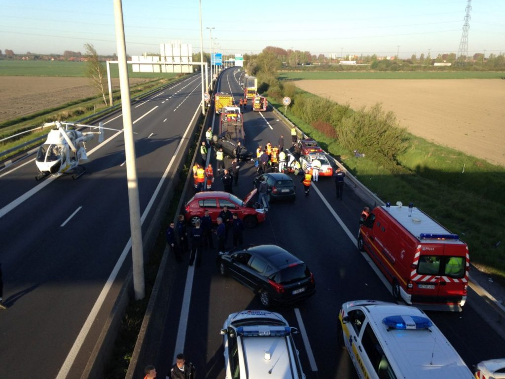 A general view taken on May 5, 2016 shows the site of an accident on the A16 motorway in Coudekerque, near Dunkerque, northern France. One person died and several were injured on early May 5 in three accidents which occurred on the A16 motorway near the French-Belgian border, including one involving a vehicle being persued by Belgian police. / AFP / LA VOIX DU NORD / Alexis Constant (Photo credit should read ALEXIS CONSTANT/AFP/Getty Images)