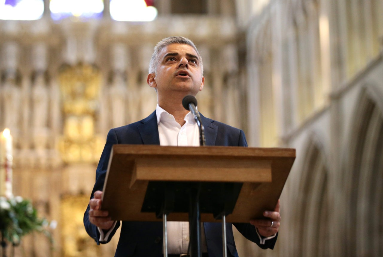 LONDON, ENGLAND - MAY 07:  Sadiq Khan attends an official ceremony at Southwark Cathedral as he begins his first day as newly elected Mayor of London on May 7, 2016 in London, England.  Khan, the Labour MP for Tooting, will be sworn in as Mayor of London at a multi-faith service at Southwark Cathedral today. After months of campaigning Mr Khan won the London mayoral race with 56.8 percent of the vote beating Conservative Party candidate Zac Goldsmith into second place.  (Photo by Yui Mok - WPA Pool /Getty Images)