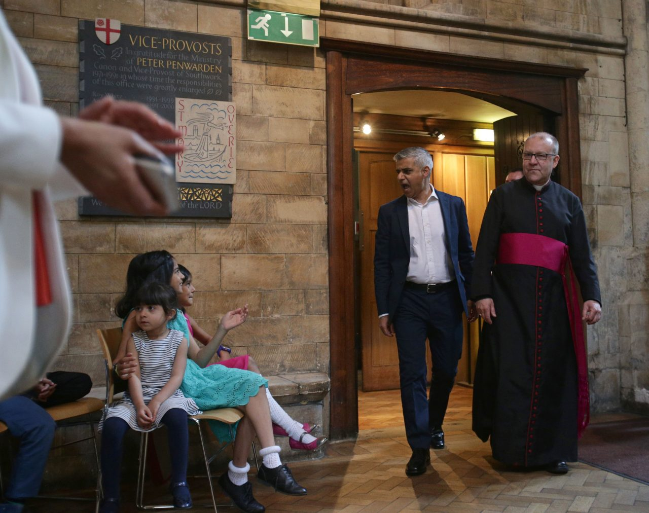 "Britain's incoming London Mayor Sadiq Khan (2R), walks along side the Dean of Southwark Cathedral, The Very Reverend Andrew Nunn (R), during his swearing-in ceremony at Southwark Cathedral in cental London on May 7, 2016. London's new mayor Sadiq Khan thanked voters for choosing ""unity over division"" as he was elected Saturday, becoming the first Muslim leader of a major Western capital. / AFP / POOL / Yui Mok        (Photo credit should read YUI MOK/AFP/Getty Images)"
