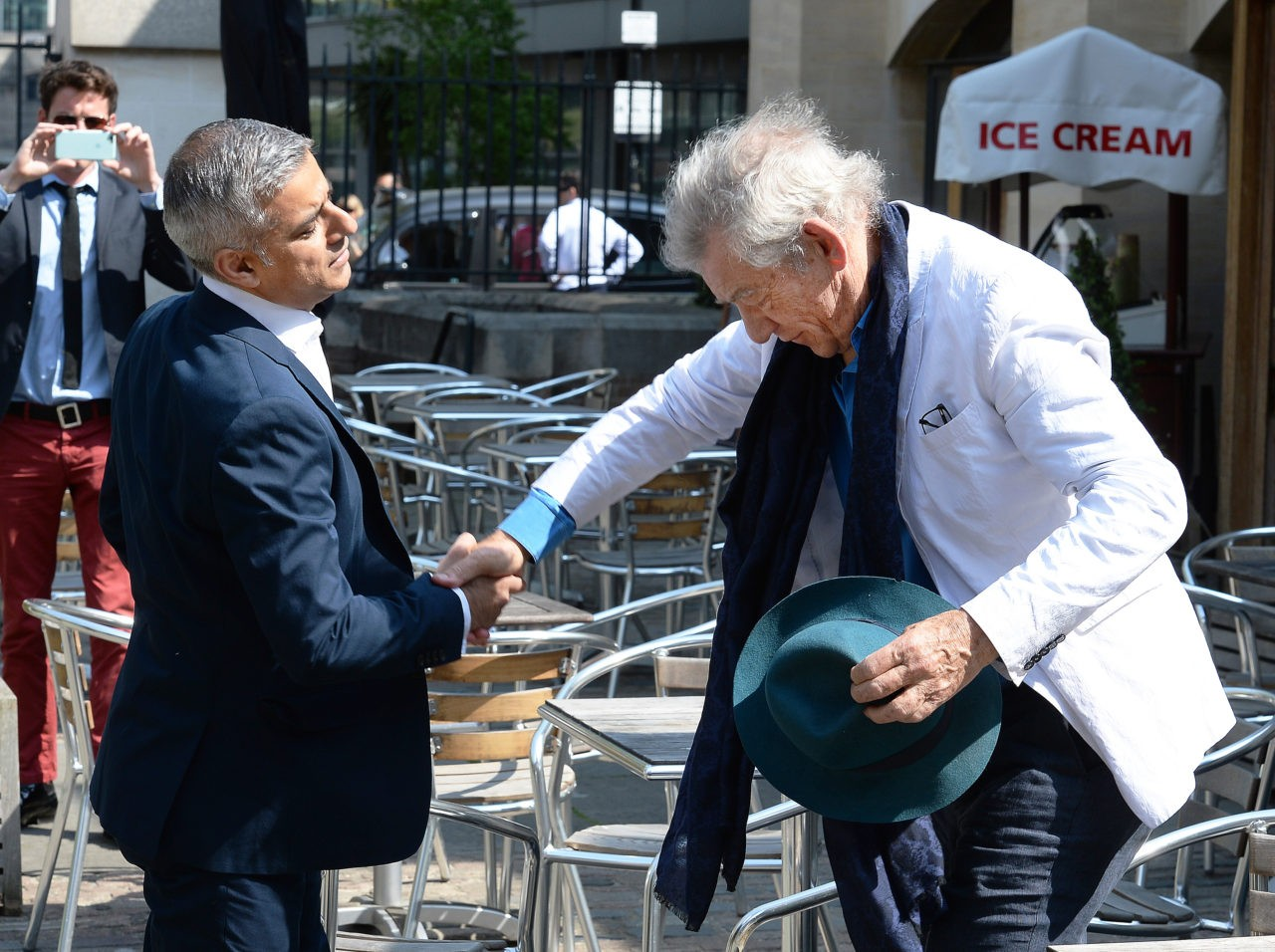LONDON, ENGLAND - MAY 07:  Sir Ian McKellen greets the newly elected Mayor of London Sadiq Khan ahead of his signing ceremony Southwark Cathedral on May 7, 2016 in London, England.  Khan, the Labour MP for Tooting, will be sworn in as Mayor of London at a multi-faith service at Southwark Cathedral today. After months of campaigning Mr Khan won the London mayoral race with 56.8 percent of the vote beating Conservative Party candidate Zac Goldsmith into second place.  (Photo by John Stillwell - WPA Pool /Getty Images)