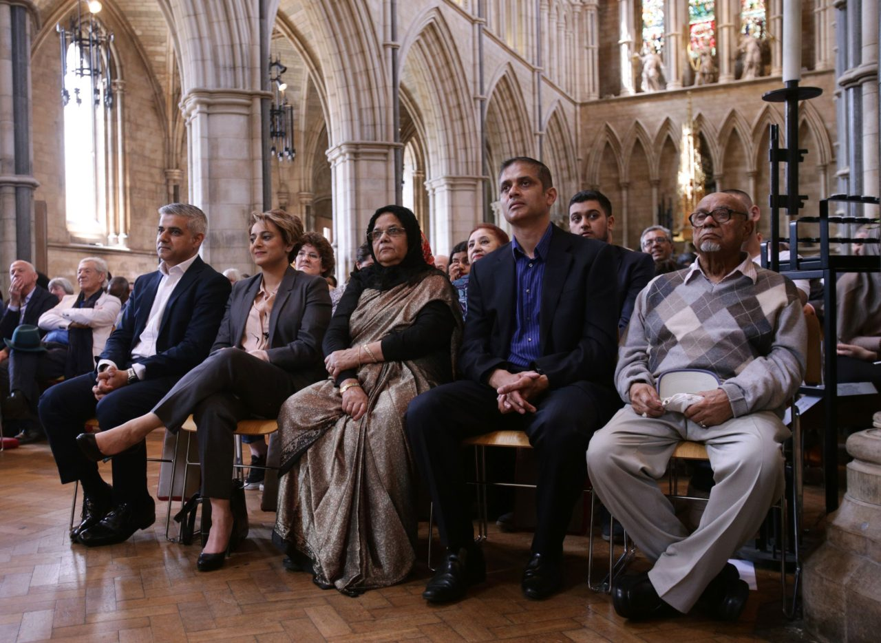 "Britain's incoming London Mayor Sadiq Khan (L) sits with his wife Saadiya (2L), during his swearing-in ceremony at Southwark Cathedral in cental London on May 7, 2016. London's new mayor Sadiq Khan thanked voters for choosing ""unity over division"" as he was elected Saturday, becoming the first Muslim leader of a major Western capital. / AFP / POOL / Yui Mok        (Photo credit should read YUI MOK/AFP/Getty Images)"