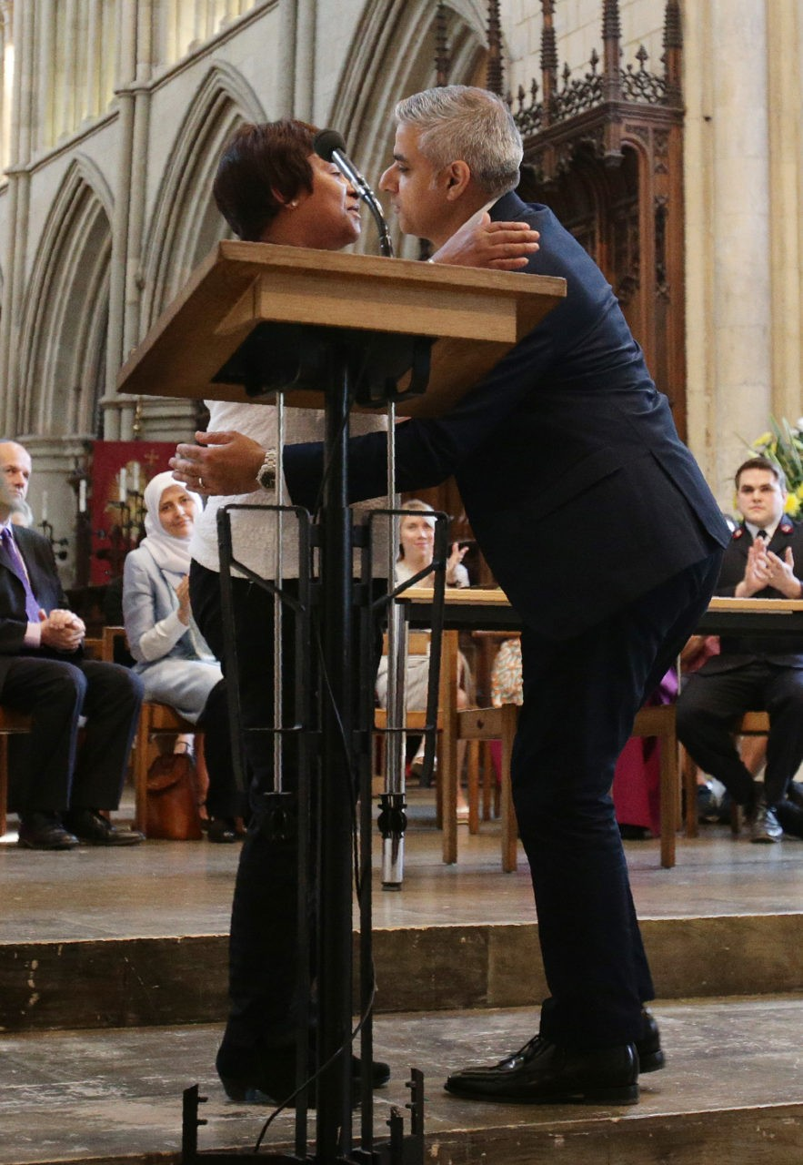 "Britain's incoming London Mayor Sadiq Khan (R) is greeted by Doreen Lawrence during his swearing-in ceremony at Southwark Cathedral in cental London on May 7, 2016. London's new mayor Sadiq Khan thanked voters for choosing ""unity over division"" as he was elected Saturday, becoming the first Muslim leader of a major Western capital. / AFP / POOL / Yui Mok        (Photo credit should read YUI MOK/AFP/Getty Images)"