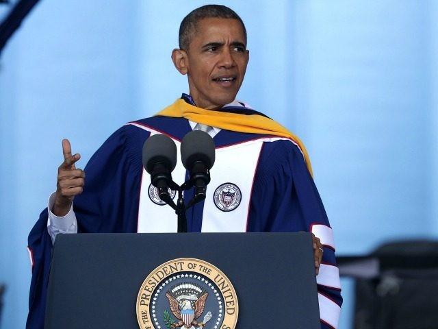 U.S. President Barack Obama addresses the 2016 commencement ceremony at Howard University May 7, 2016 in Washington.