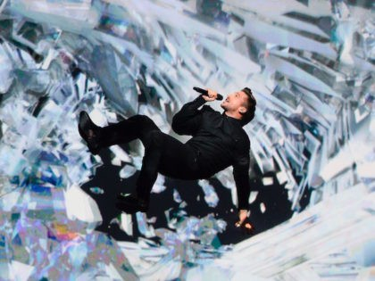 Sergey Lazarev representing Russia performs the song 'You Are The Only One' during the dress rehearsal for the Eurovision Song Contest 2016 Grand Final in Stockholm, Sweden, on May 13, 2016. / AFP / JONATHAN NACKSTRAND (Photo credit should read JONATHAN NACKSTRAND/AFP/Getty Images)