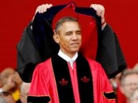 resident Barack Obama receives an honorary doctorate of laws while attending the 250th anniversary commencement ceremony at Rutgers University on May 15, 2016 in New Brunswick, New Jersey.