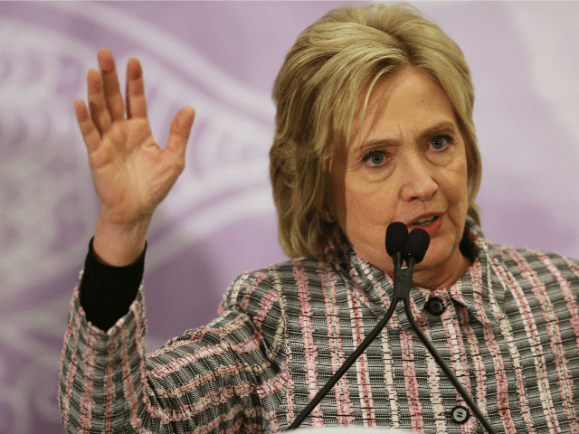Democrat Hillary Clinton on May 21, 2016 in Fort Lauderdale, Florida.