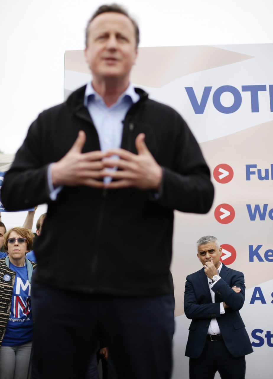 "LONDON, UNITED KINGDOM - MAY 30:  Prime Minister David Cameron (foreground) makes a joint appearance with Mayor of London Sadiq Khan as they launch the Britain Stronger in Europe guarantee card at Roehampton University on May 20, 2016 in London, United Kingdom. The ""guarantee card"" lists five pledges should Britain remain in the EU, including the protection of workers' rights, full access to the single market and stability for Britain. U.K voters go to the polls on June 23 to vote in a referendum on the continued membership of the UK in the European Union. (Photo by Yui Mok - WPA Pool/Getty Images)"