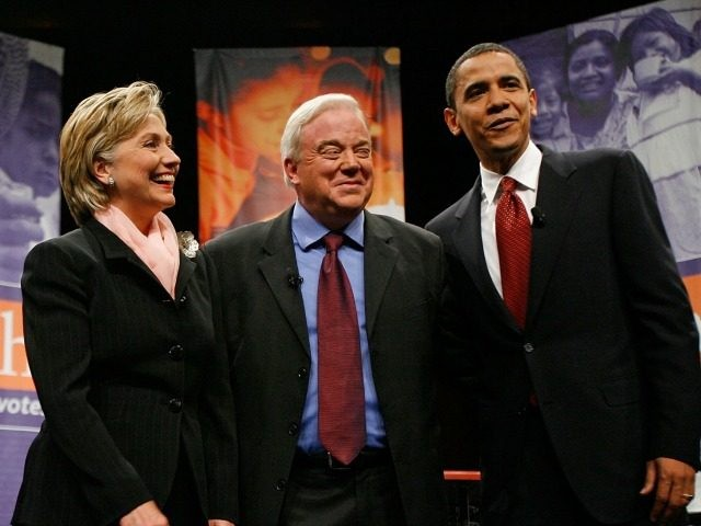 Democratic presidential candidates (L-R) former Sen. John Edwards (D-NC), Sen. Hillary Clinton (D-NY), Sen. Barack Obama (D-IL) (R) join Reverend Jim Wallis (2nd-R) for a forum on 'Faith Guiding Our Votes: faith, values and poverty' at George Washington University June 4, 2007 in Washington, DC.
